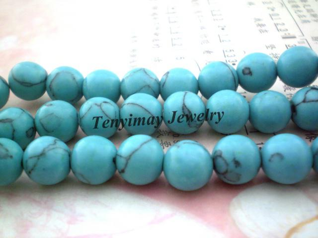 Round Turquoise Beads 12mm Fashion Turquoise Loose Beads Fit Bracelet DIY