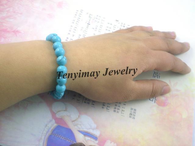 Groothandel 12 stks / partij 8mm natuurlijke turquoise kralen armbanden, mode turquoise sieraden gratis verzending
