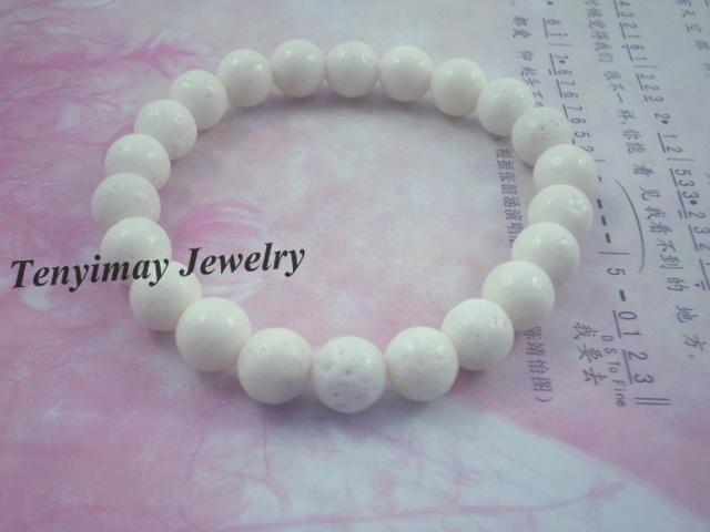 Wholesale 8mm White Coral Bracelets, Fashion Coral Jewelry