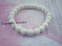 Wholesale Wholesale Coral Beaded Jewelry - Wholesale 12pcs Lot 8mm White Coral Bracelets, Fashion Coral Jewelry Free Shipping