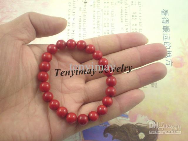 Коралловые браслеты Оптовая 12 шт. 8 мм натуральный красный коралловый шарик браслеты Бесплатная доставка