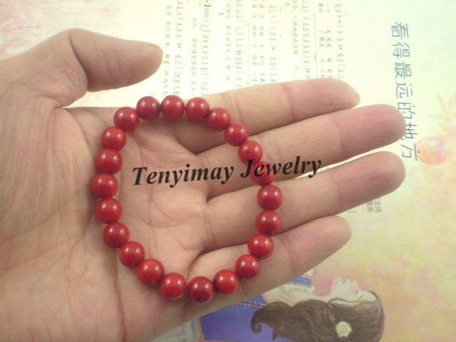 Coral Bracelets Wholesale 8mm Natural Red Coral Bead Bracelets