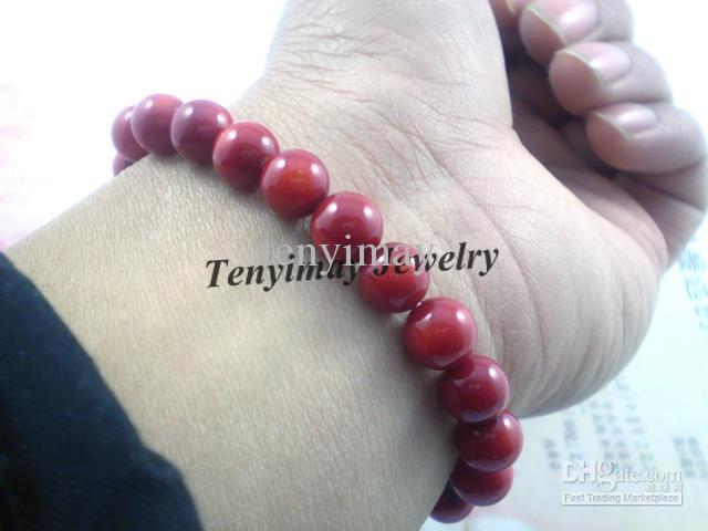 Coral Armband Partihandel 12st 8mm Naturlig röd korall Bead Armband Gratis frakt
