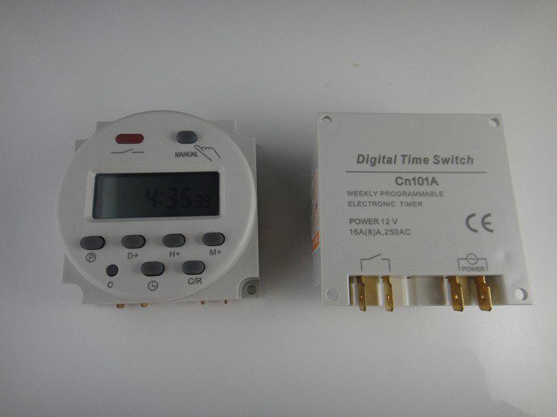 5 unids LCD Temporizador programable semanal digital Controlador de tiempo de potencia Relé DC 12V 16A # BV073 @CF