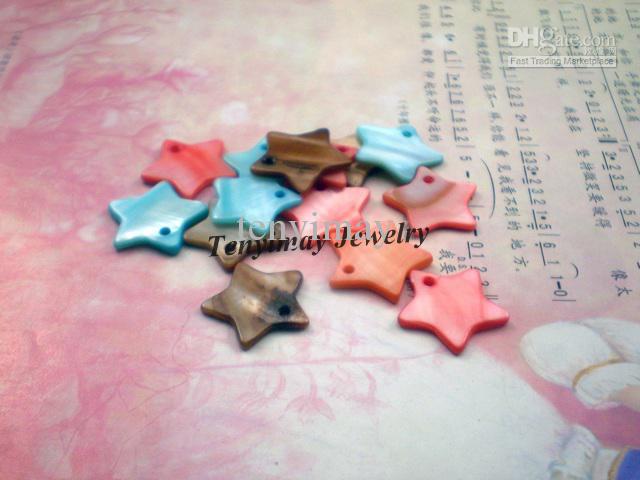 Colores mixtos Star Shell colgante, forma de estrella Shell Charm, joyería de moda Shell Encontrar envío gratuito