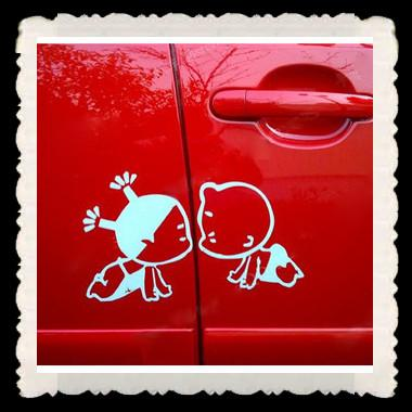 50PR/LOT Pobaby Kiss Funny Car Stickers Decals 25*15cm Bumper Stickers Cheap Vinyl decals China