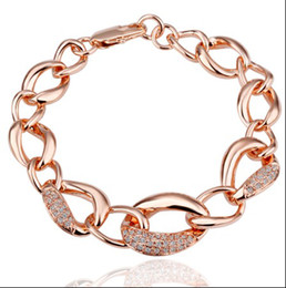 Wholesale Diamond Charms Wholesale - 2012 new 18K RGP crystal diamond rose gold charm bracelet jewelry fashion beautiful free shipping