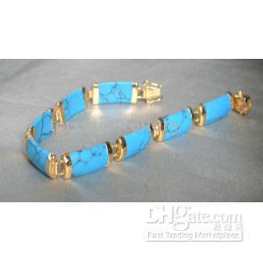 Очаровательный! Синий бирюзовый браслет 18K GP С бирюзовым браслетом удачи Бесплатная доставка NF100