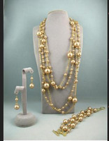 Wholesale Champagne Pearl Jewelry Set - Charming!Mother-of-pearl jewelry set AA 4-14MM champagne color necklace bracelet earring NF106