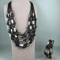 Wholesale Premier Necklaces - Charming!premier designs mirage necklace bracelet jewelry set natural shell & black color lava NF112
