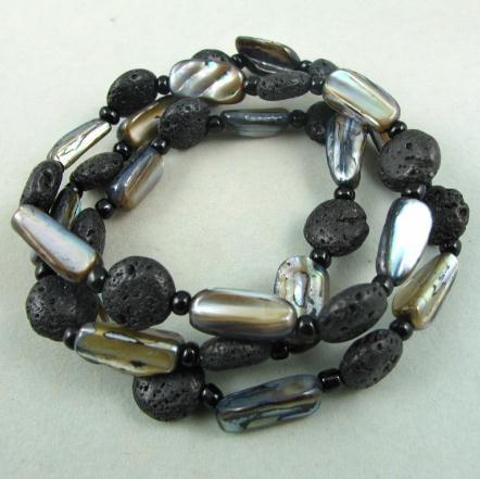 Очаровательно!премьер-дизайн Мираж ожерелье браслет комплект ювелирных изделий природных оболочки черный цвет лавы NF112