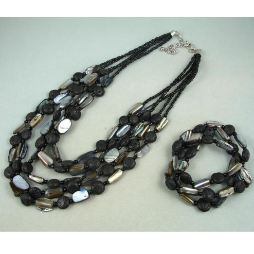 Charming!premier designs mirage necklace bracelet jewelry set natural shell & black color lava NF112