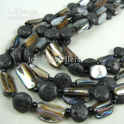 Charme! Premier conçoit mirage collier bracelet ensemble de bijoux coquille naturelle couleur noire lave NF112