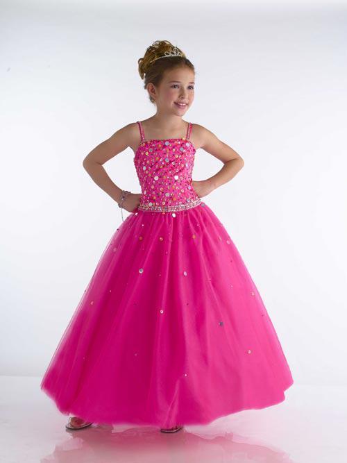 Cherubic Hot Pink Children's Pageant Dresses Spaghetti Strap ...