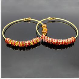 Wholesale Shamballa Basketball Wives - rhinestone beads basketball wives hoop earrings shamballa earrings 20pairs lot free shiping