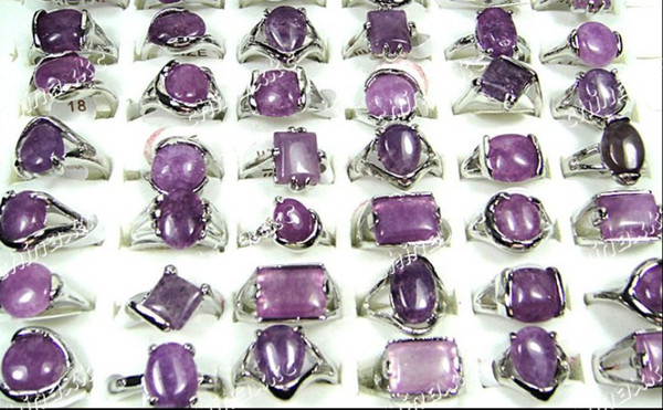 best selling wholesale Amethyst party jewelry lots Natural Purple Stone silver rings Fashion style