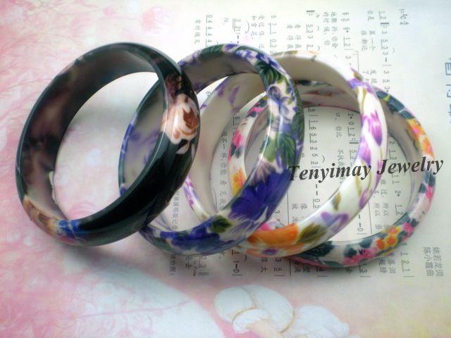 꽃 프린트 뱅글스 무료 배송 Gift, Promotion을위한 도매 / 플라스틱 Bangles