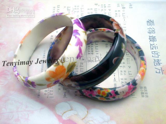 Bloem bedrukt armbanden gratis verzending groothandel / plastic armbanden voor geschenk, Promotie