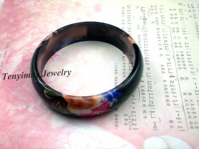 Flower Printed Bangles Wholesale Plastic Bangles For Gift, Promotion