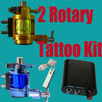Wholesale Rotary Tattoo Gold - Super 2 Rotary Alloy Machines Blue+ Gold Tattoo Gun Kits MIN Power Supply System Tattoo Supply Pro