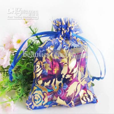 200 Pcs Royal Blue Gold Rose Organza Gift Bag Wedding Favor 7X9 cm (2.7x3.5inch)