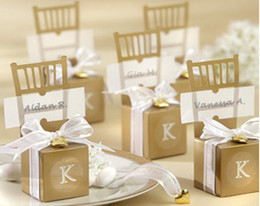 Wholesale Chair Card - Wedding Boxes Miniature Gold Chair Favor Box 250PCS LOT with name card and heart delivery in 48hours