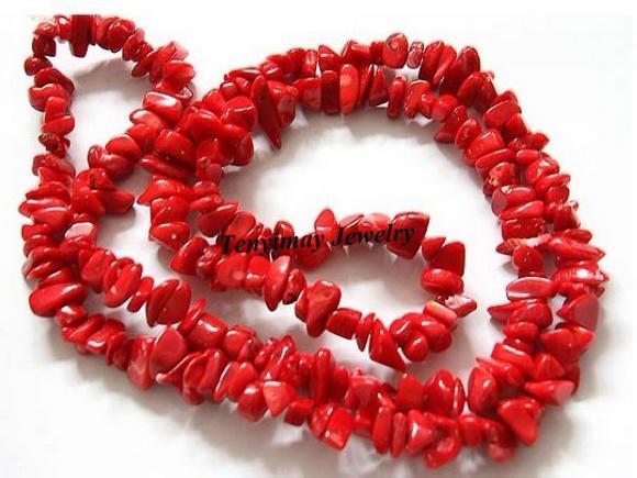 卸売5mm赤いコーラルチップスビーズ、半完成したコーラルビーズ、墓形DIYジュエリールーズビーズ