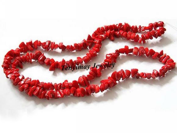 best selling Wholesale 5mm Red Coral Chips Beads, Semi-Finished Coral beads, Grave Shape DIY Jewelry Loose Beads