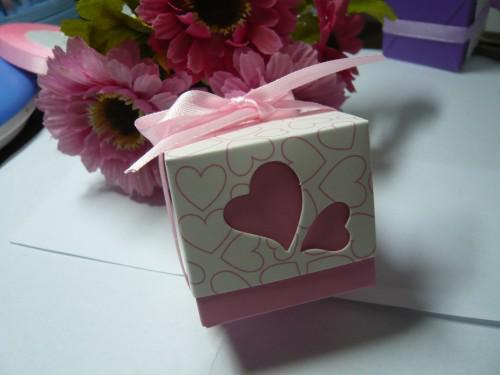 Wedding Bomboniere Heart Design Cake Boxes Pink And Purple 250pcs Lot Hot Selling
