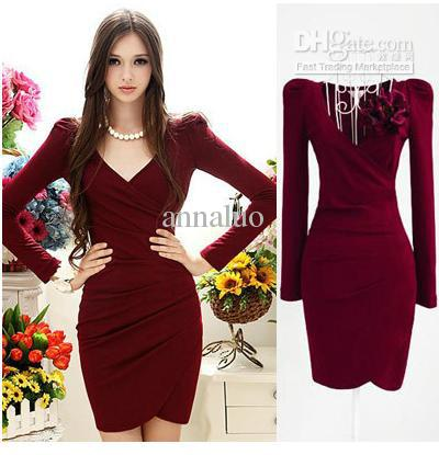 Hot Sale! Fashion Winter Dresses Red V Neck Long Sleeve Stretch ...