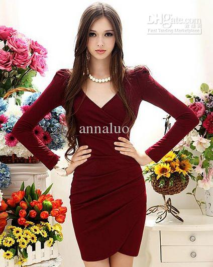 Wholesale Hot Sale! Fashion Winter Dresses Red V Neck Long Sleeve ...