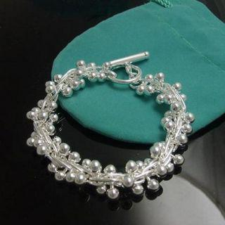 Najlepiej sprzedający się 925 Silver Bead Chrok bransoletka Grape Grape Girl Biżuteria 8-calowa Długa Darmowa Wysyłka