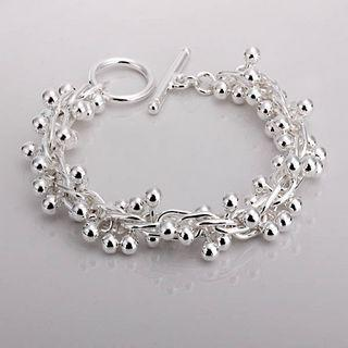 Best-selling 925 silver bead charm bracelet grape girl fashion jewelry 8-inch long free shipping