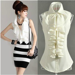 Wholesale Sleeveless Mandarin Collar Dress - Hot Sale! Women's Clothings Fashion Shirts Pure Lotus Leaf Edge Lapel Sleeveless Slim Women's Shirts 2 colors