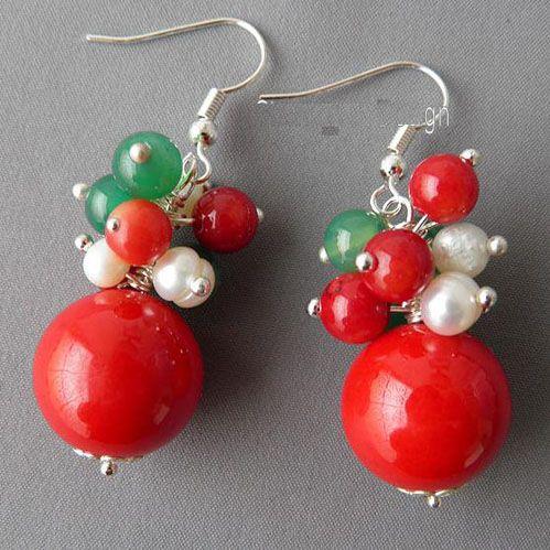 Elegante! Natale Red Coral Green Jade Gemstone bianco perla Handmade collana orecchino NF191