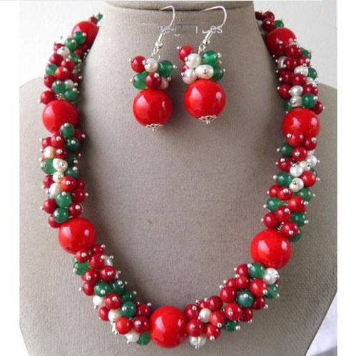 Elegant!For Christmas Red Coral & Green Jade Gemstone & white pearl Handmade Necklace earring NF191