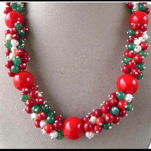 우아한! 크리스마스 레드 산호 그린 비취 보석 화이트 진주 수제 목걸이 귀걸이 NF191