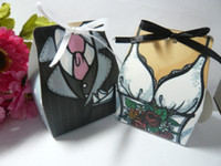 ingrosso scatole regalo del vestito da cerimonia nuziale-(150 pezzi / lottp = 75 paia) scatola regalo di sposi e sposa di TUXEDO e ABITO scatola di caramelle per bomboniere e regali doccia