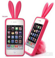 Wholesale Cute Phones For Sale - hot sale 4 accessory mobile phone cover silicone plastic cute rabbit bunny With a Stand fur tail TPU