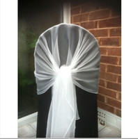 Wholesale Wedding Wrap Chair - 65cm*200cm White Chair Cover Hood Wrap Tie Back Organza Sash Bow 50PCS A Lot With Free Shipping