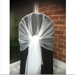$enCountryForm.capitalKeyWord Canada - 65cm*200cm White Chair Cover Hood Wrap Tie Back Organza Sash Bow 50PCS A Lot With Free Shipping