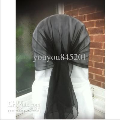 65 cm * 200 cm Wit stoel Cover Hood / Wrap Tie Back Organza Sash Bow 50st veel met gratis verzending