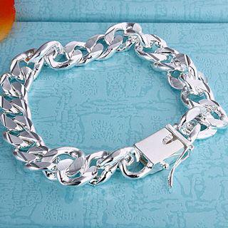 Самый продаваемый 925 серебряный браслет 10 мм квадратная пряжка боком ювелирные изделия бесплатная доставка 10 шт.