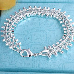 fish bone silver bracelet UK - Best-selling 925 silver fish bone charm bracelet popular unisex fashion jewelry free shipping 10piec