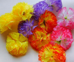 Discount pink flower brooches - 100P NEW HOT Artificial Silk Carnation Flower Heads for Mother's Day DIY Brooch 8cm PINK PURPLE YELLOW ORANGE