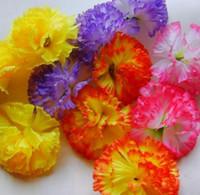 ingrosso fiori di garofano artificiale viola-1000P Moda Garofano di seta artificiale Testa di fiore Festa della mamma Spilla fai da te 8 cm ROSA VIOLA GIALLO ARANCIONE