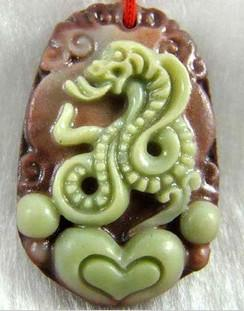Gratis frakt - Vacker naturlig Yunnan lila jade, handskuren talisman 12 Zodiac - Snake Pendant Charm - Hängsmycke Halsband.