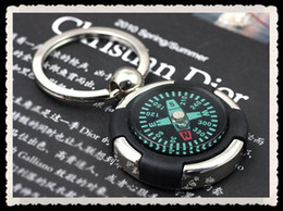 Wholesale Cheap Gift Business - 30pcs lot Alloy compass keychains Cheap accessories Men's business gift multifunction key chain