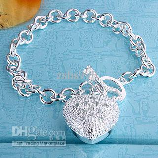 Best-seller del día de San Valentín regalo de la joyería 925 pulsera del corazón de plata con incrustaciones de piedra el envío libre 10pcs