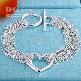 Самый продаваемый День Святого Валентина подарок ювелирные изделия серебряная сетка сердце браслет 925 бесплатная доставка 10 шт.